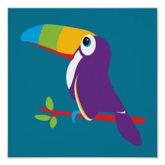 Colorful toucan graphic kids nursery art poster