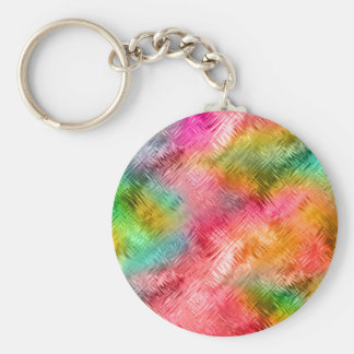 Colorful Tourmaline Glassy Texture Basic Round Button Keychain