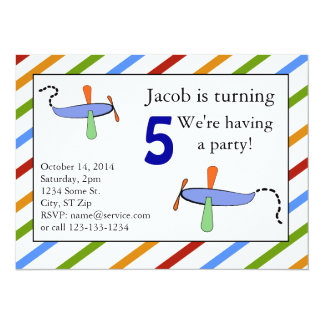 Colorful Toy Airplane for Little Boys Personalized Invites