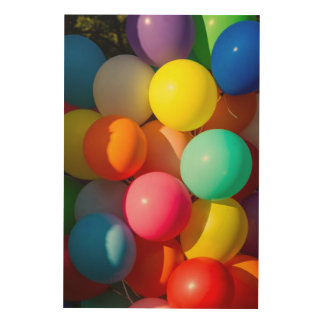 Colorful Toy Balloons Wood Print