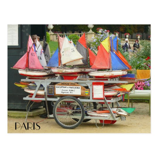 Colorful Toy Sailboats Luxembourg Gardens Paris Postcard