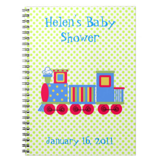 Colorful Toy Train Baby Shower Notebook