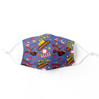 Colorful Tractor and Bulldozer Polka Dots Adult Cloth Face Mask