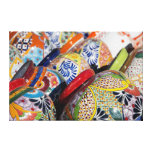 Colorful traditional hand-painted Mexican pottery Canvas Print