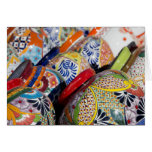 Colorful traditional hand-painted Mexican pottery Greeting Card