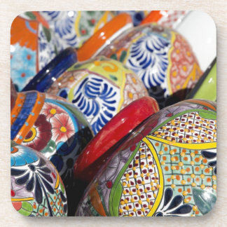 Colorful traditional hand-painted Mexican pottery Beverage Coasters