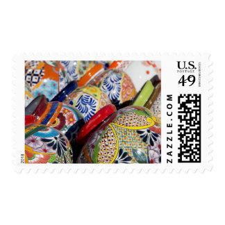 Colorful traditional hand-painted Mexican pottery Postage
