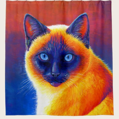 Colorful Traditional Siamese Cat Shower Curtain