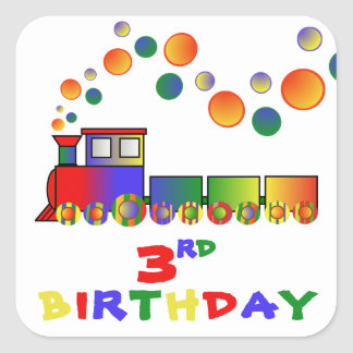 Colorful Train 3rd BIRTHDAY Square Sticker
