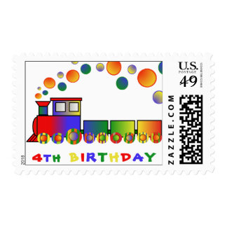 Colorful Train 4th BIRTHDAY Postage