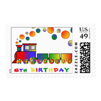 Colorful Train 6th BIRTHDAY Postage
