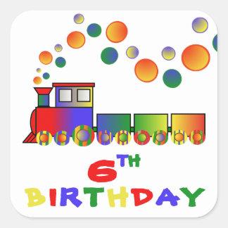 Colorful Train 6th BIRTHDAY Square Sticker