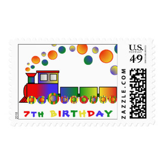 Colorful Train 7th BIRTHDAY Postage Stamps