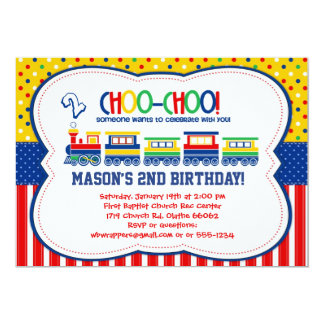 Colorful TRAIN - Birthday Party Invitations