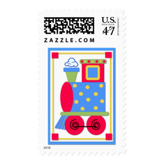 Colorful Train Engine Baby Shower Stamp