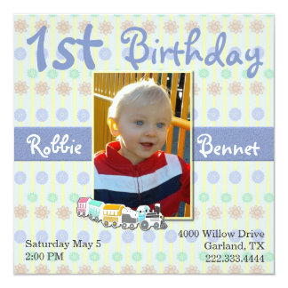 Colorful Train First Birthday Invitation