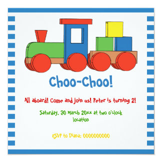 Colorful train kids birthday blue, white border card