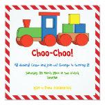 Colorful train kids birthday red, white border 5.25x5.25 square paper invitation card