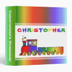 Colorful Train Personalized 3 Ring Binder