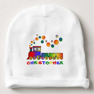 Colorful Train Personalized Baby Beanie