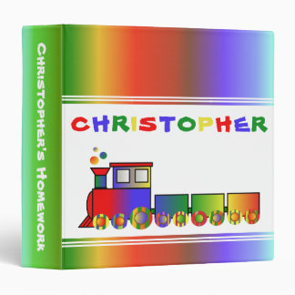 Colorful Train Personalized Vinyl Binders
