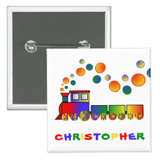 Colorful Train Personalized Pinback Button