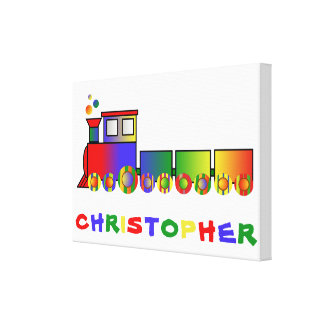 Colorful Train Personalized Gallery Wrap Canvas