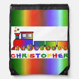 Colorful Train Personalized Drawstring Backpack