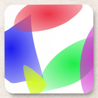 Colorful Translucent Abstract Leaves Drink Coaster