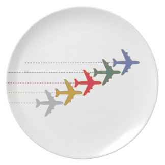 colorful travel airplanes melamine plate