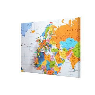 Colorful Travel Map Canvas Print