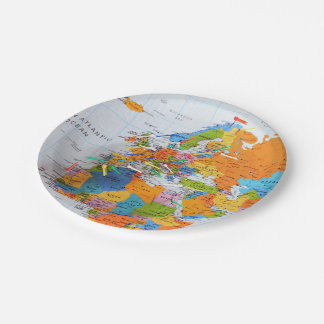 Colorful Travel Map Paper Plate