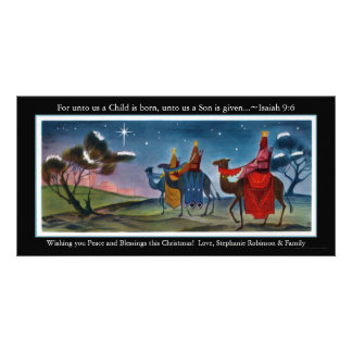 Colorful Travelers Flat Christmas Greeting Card Photo Card