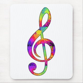 Colorful Treble Clef Mouse Pad