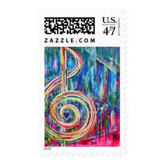 Colorful Treble Clef Postage