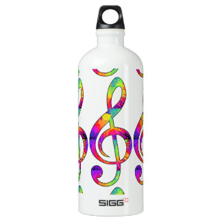Colorful Treble Clef Water Bottle