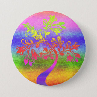 Colorful Tree Art Button