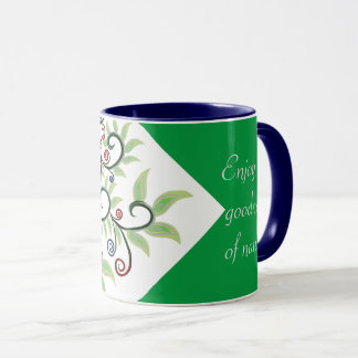 Colorful Tree creeper pattern green typography mug