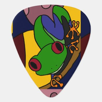 Colorful Tree Frog Art Abstract Guitar Pick by inspirationrocks at Zazzle