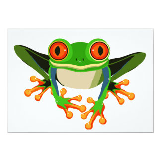 Colorful Tree Frog 5x7 Paper Invitation Card