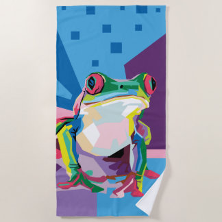Colorful Tree Frog Portrait Beach Towel