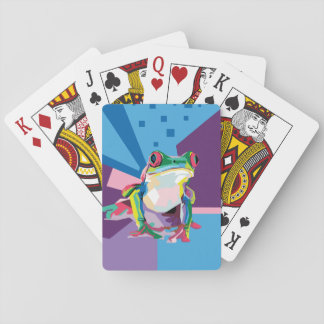 Colorful Tree Frog Portrait Playing Cards