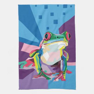 Colorful Tree Frog Portrait Towel
