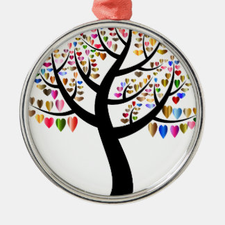 Colorful Tree Heart Metal Ornament