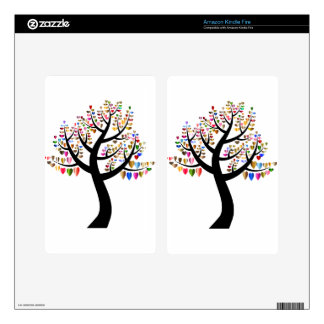 Colorful Tree Heart Skins For Kindle Fire
