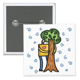 Colorful Tree Hugger 2 Inch Square Button