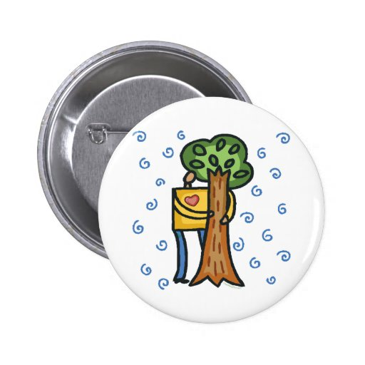 Colorful Tree Hugger Pinback Buttons