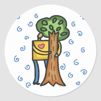 Colorful Tree Hugger Classic Round Sticker