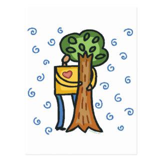 Colorful Tree Hugger Postcard