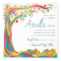 Colorful Tree of Life in Jerusalem Card